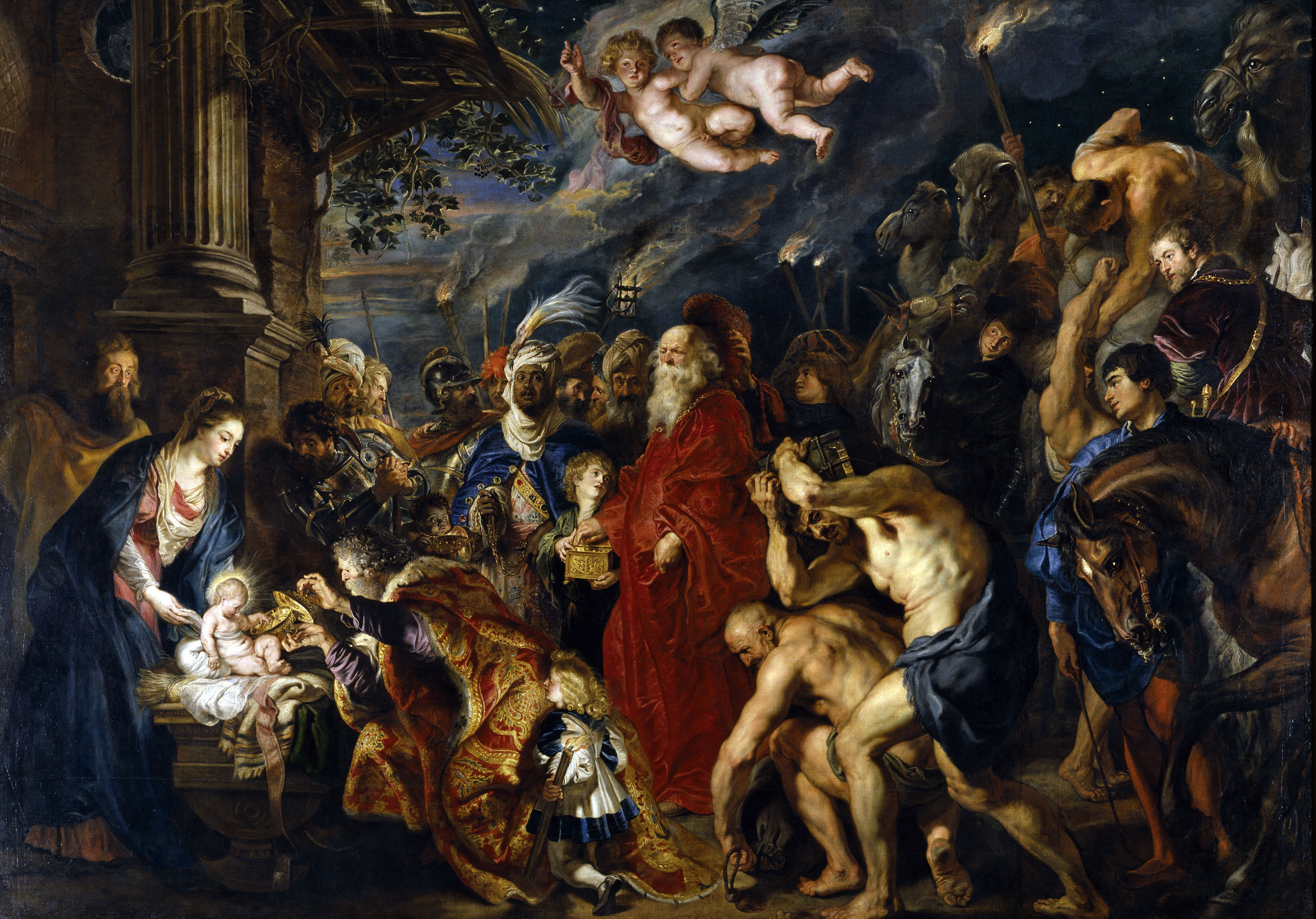 The adoration of the Magi by Peter Paul Rubens, the most famous painter from my hometown Antwerp. Painted in 1609 to decorate the negotiations hall for the Twelve Year's truce. Given to the Spanish ambassador in 1612, it came into possession of the Spanish king Philips IV. Rubens himself reworked it slightly in Spain in 1628-1629. It survived a fire in 1734 by being cut from its frame and thrown out the window, and now resides in the Prado in Madrid.