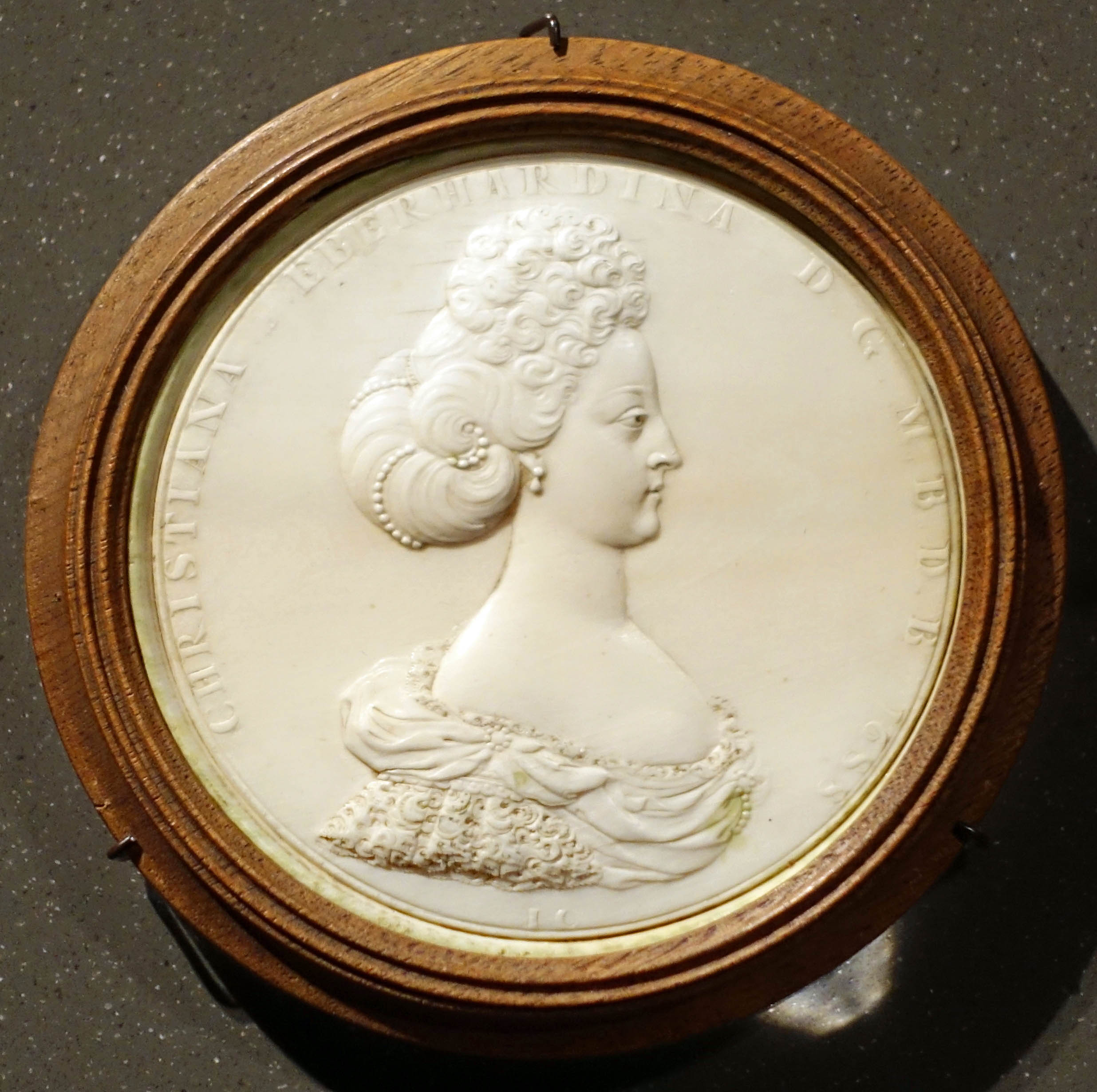 An ivory carving of Christiane Eberhardine of Brandenburg-Bayreuth (1671-1727) by Jean Cavalier, a French artist who worked on many European courts.