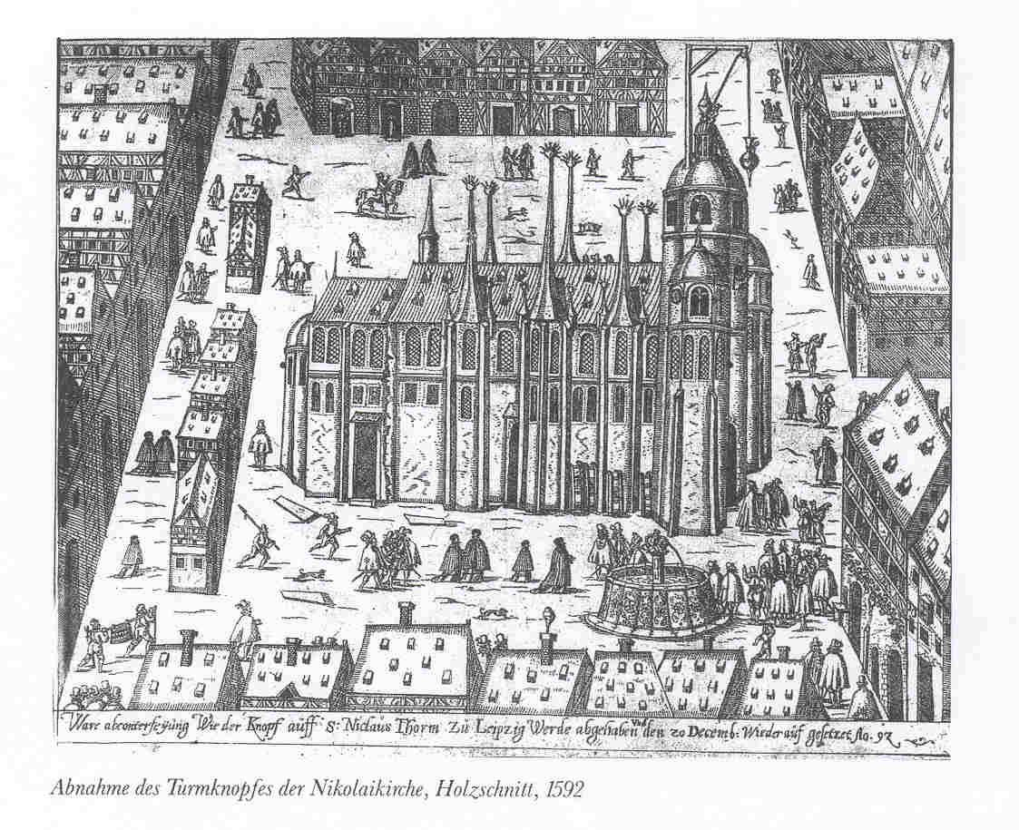 Wood engraving of the Nikolaikirche in Leipzig, 1592. The Nikolaikirche was also under the supervision of Bach as Thomaskantor, and he performed many cantatas there too.