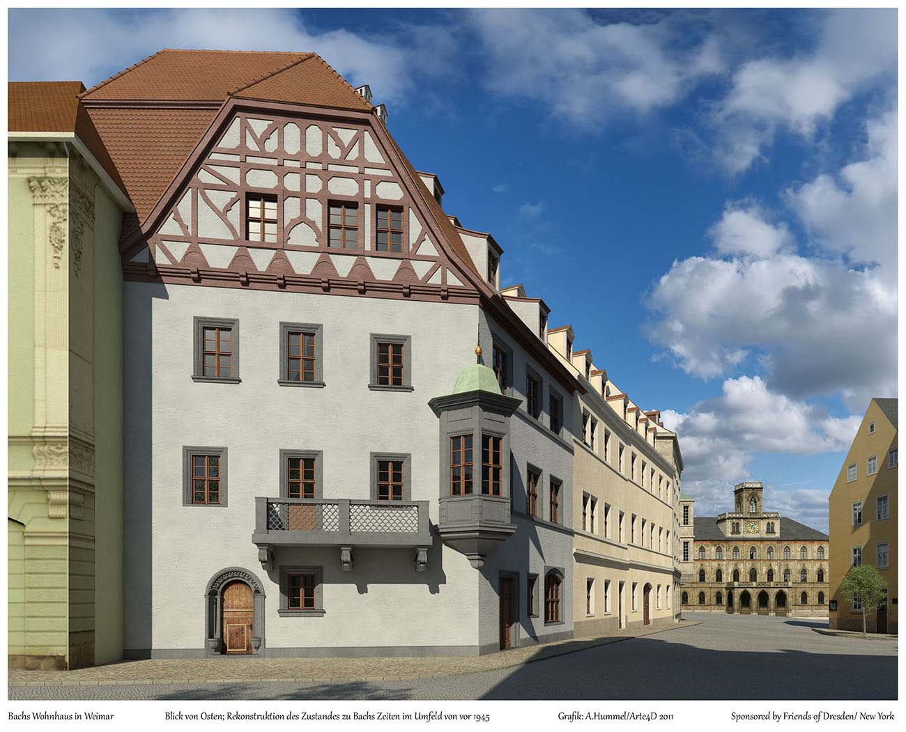 A reconstruction of the Bach familiy house in Weimar as it may have looked in his lifetime (view from the east). Don't try to look for the house on a visit to the city, because it is now... a parking lot. Visualisation done by the Hummel architecture office in 2011.