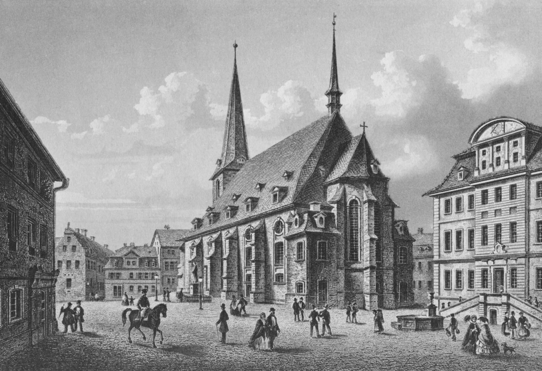 A view of the Herderplatz in Weimar from the southeast (etching by L. Oeder, 1840). The church of Saint-Paul and Saint-Peter, also known as the Herderkirche, saw the premieres of several Bach cantatas. John Eliot Gardiner suggests that Bach cantatas using a festive orchestra were first performed there, including his first cantata for Christmas, Christen, ätzet diesen Tag, BWV 63 and Der Himmel lacht! Die Erde jubilieret, BWV 31 for the Easter Sunday of 1715, scored for soloists, a five-part choir and three instrumental groups. Bach frequently played the organ, and two of his sons were baptized in the church.